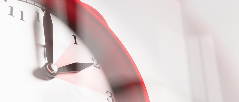 European daylight saving time. Red alarm clock close up on white background, banner. 3d illustration