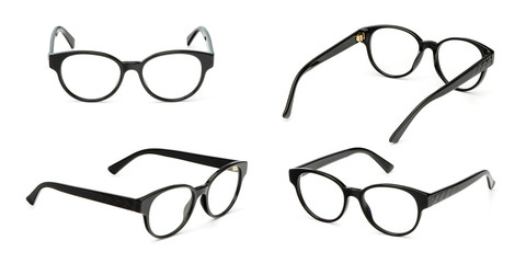 Set black glasses business style transparent isolated on white background. Collection fashion office eye glasses Wall mural