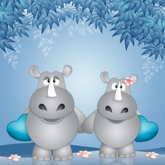 an illustration of two rhinos with hearts