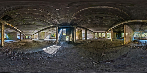 Foto auf Gartenposter Ruinen Full spherical seamless hdri panorama 360 degrees angle view concrete structures abandoned unfinished building. 360 panorama in equirectangular equidistant projection, VR AR content