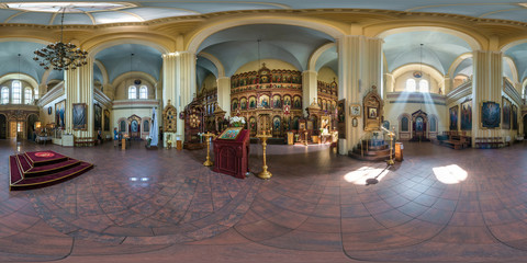 full seamless spherical panorama 360 degrees angle view interior Orthodox church in equirectangular projection, AR VR content. rays of light in windows