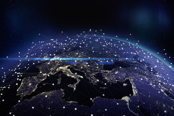 European communication network. 3D rendering - Elements of this image furnished by NASA