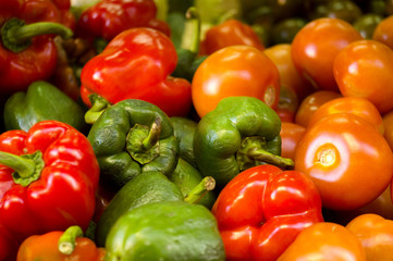 Varied vegetable Peppers, zucchini, tomatoes