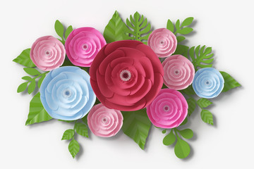 Flower paper style, colorful rose, paper craft floral, 3d rendering, with clipping path