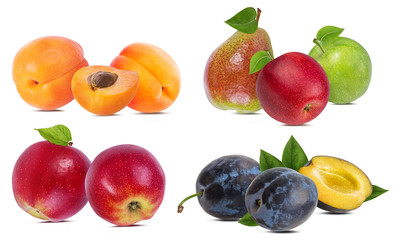 Fototapete - Apples, pears, apricots and plums isolated on white background