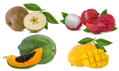 Wall Mural - Collection of exotic fruits isolated on a white background
