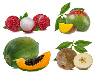 Fototapete - Collection of exotic fruits isolated on a white background