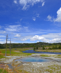 Midway Geyser Basin and Firehole River in Yellowstone National Park, Teton County, Wyoming, USA, UNESCO World Heritage Site