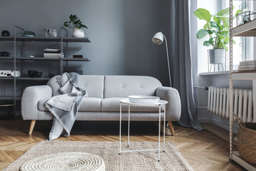 Stylish nordic living room with design sofa with elegant blanket, coffee table,white lamp and bookstand on the grey wall. Brown wooden parquet. Concept of minimalistic interior.