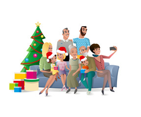 Big Family Christmas Celebration Cartoon Vector Concept with Happy Smiling Relatives Sitting on Sofa with Children, Making Group Portrait near Christmas Tree Illustration Isolated on White Background