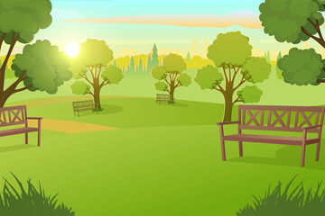 Fotobehang Pistache Sunny Day in City Park with Green Grass on Meadow and Benches under Trees Cartoon Vector Illustration. Peaceful Public Place for Leisure, Comfortable Square in Metropolis. Urban Infrastructure Element