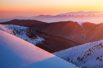 The valley is lit by the charming evening light. Location Carpathian, Ukraine, Europe.