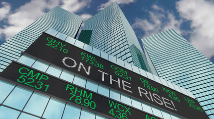 On the Rise Stock Market Ticker Buildings Higher Prices 3d Illustration