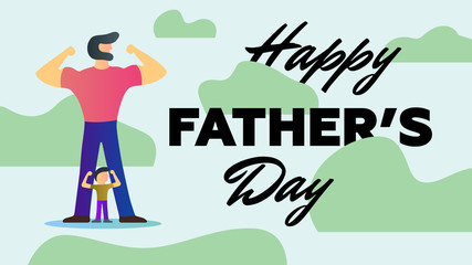 Happy Father Day Holiday Strong Dad Son show arms biceps muscles stand khaki background Vector Illustration