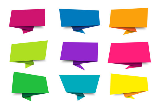 Set blank paper speech bubble, chat sign - for stock