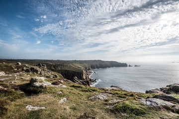 Lands End, Cornwall in the summer