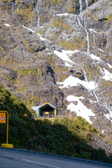 Homer Tunnel entrance on State Highway 94, the road to Milford Sound in New Zealand's Fjordland National Park.