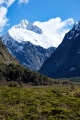 View of mountains from Monkey Creek, Fjordland, South Island, New Zealand