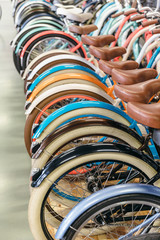 Rear wheels of bicycles standing in a row, selective focus on first wheel/ painted bike mud flaps/ bike shop, custom bike, cycle for girl or child, urban transport, rent-a-bike services/ sport concept
