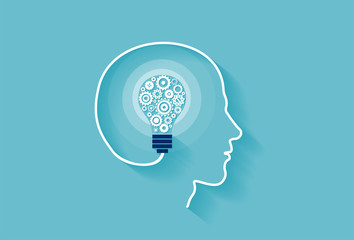 Vector of a human head with idea light bulb inside made of gear mechanisms Wall mural