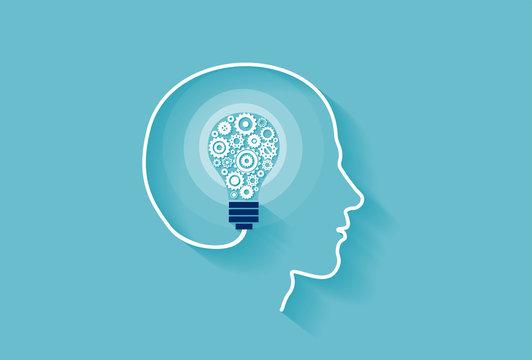 Vector of a human head with idea light bulb inside made of gear mechanisms