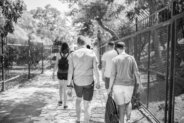 friends walking on boardwalk
