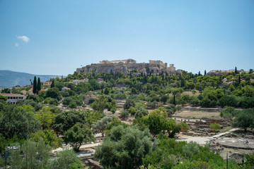 a view of the acropolis from the Agora of Athens, Greece
