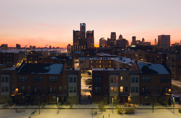 Detroit Cityscape with Condominiums at Sunset