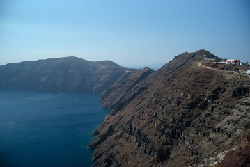 A view of the caldera side of Santorini, Greece