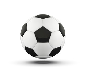 football bal. Realistic soccer ball on white background. 3d Style vector sport ball isolated on white background.
