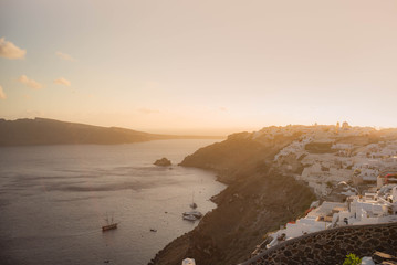 view of village in santorini greece at sunset