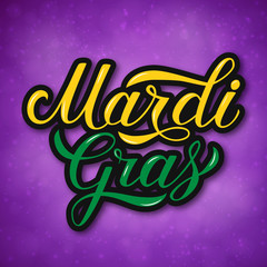 Mardi Gras colorful hand lettering on bright purple background. Traditional carnival in New Orleans. Fat or Shrove Tuesday celebration poster. Vector template for banner, flyer, party invitation.