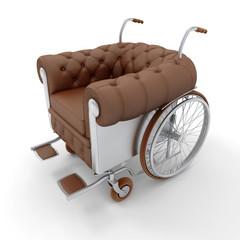 Brown Leather club wheelchair