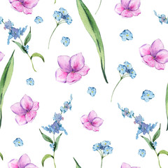 Watercolor vintage floral seamless pattern with pink and blue wildflowers