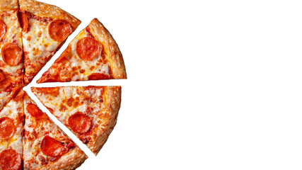Tasty pepperoni pizza. Top view of hot pepperoni pizza. Flat lay. Isolated on white background