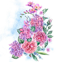 Summer Watercolor Vintage Floral Bouquet with Blooming Hydrangea, Freesia, Roses