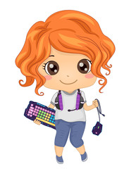 Kid Girl Online Gamer Gadgets Illustration