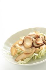 Japanese food, oyster mushroom Eringi stir fried