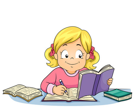 Kid Girl Write Study Illustration