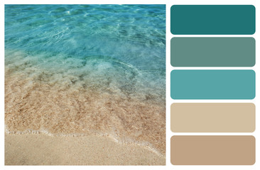 Picturesque view of beautiful seashore. Color palette