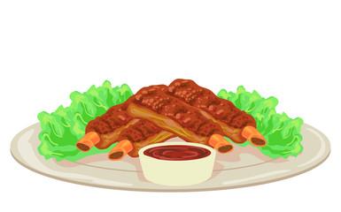 American Food Barbecue Ribs Illustration