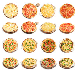 Set of different hot pizzas with delicious melted cheese on white background