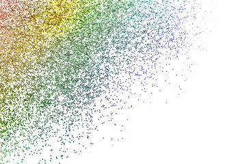 Sparkling colorful glitter on white background, top view