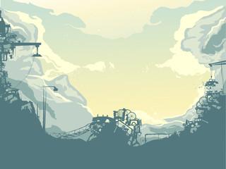 Junkyard Silhouette Background Illustration