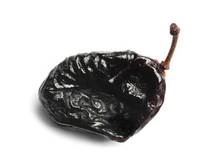 Tasty prune on white background, closeup. Dried fruit as healthy snack