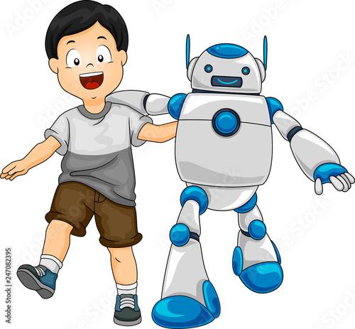 Robot Kid Boy Friends Illustration