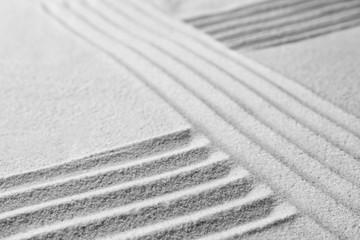 Zen garden pattern on sand. Meditation and harmony