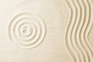 Zen garden pattern on sand. Meditation and harmony Wall mural