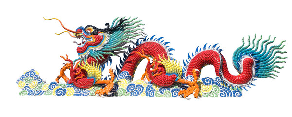 Colorful Chinese dragon on white background