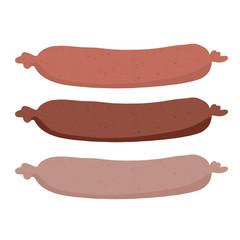 Cute vector 3 hot dogs set. Kawaii cartoon illustration. Hand drawn fast food tied germany bratwurst sausage clipart for kitchen foodie blog, german beer festival vendor, oktoberfest restaurant menu.